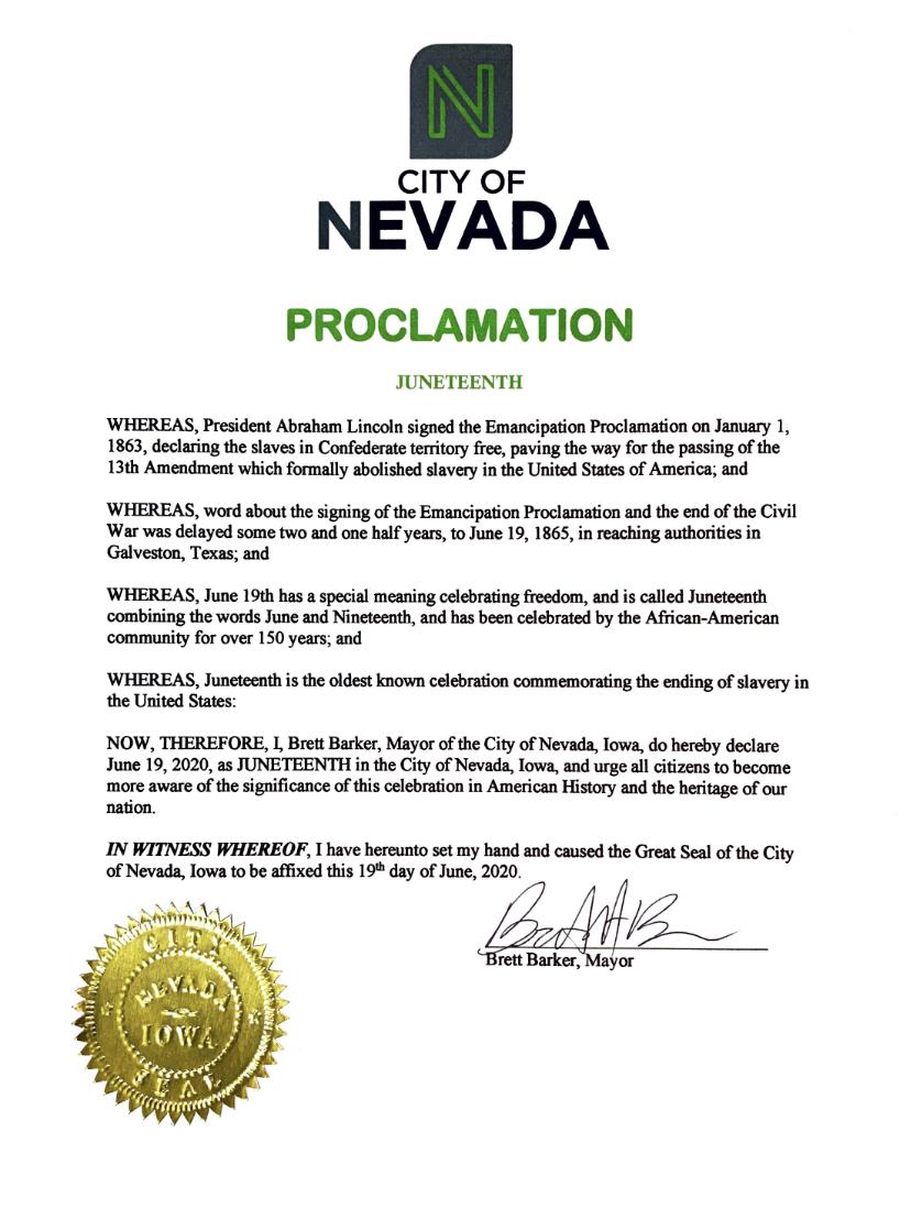 Mayor Proclaims Juneteenth In Nevada Nevada News